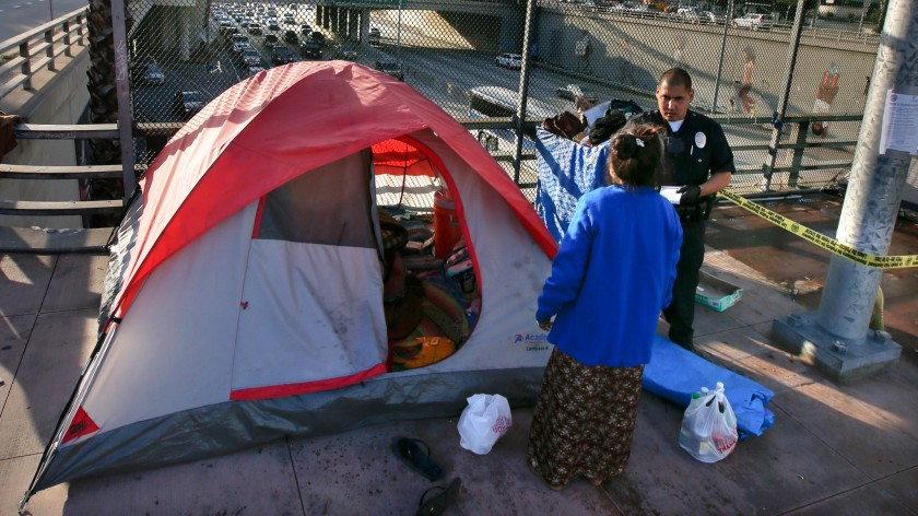 Majority says police should do more to clean L.A. streets clogged with homeless camps, Times poll finds